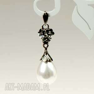 wisiorki wisioerek elza z bialymi perlami a797-wis, srebrny wisiorek, srebro