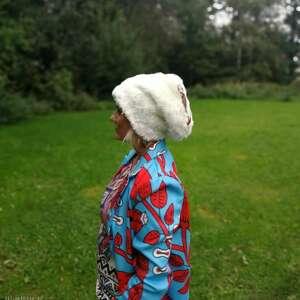 czapka kolor szary miękkie sztuczne futerko rozmiar 59-60cm na podszewce, box l1