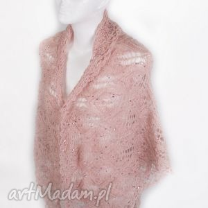 różowa chusta z cekinami, chusta, cekiny, ciepła, delikatna, miękka