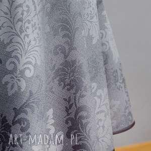 dekoracje obrus okrągły palacio szary, obrus, okrągły, serweta, na stół