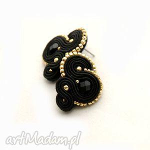 czarne kolczyki sutasz, sznurek, sztyfty, eleganckie, małe, wieczorowe, soutache