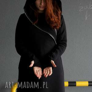 Bluza damska czarna asymetryczna Basanti, płaszcz, elegancka, gothic