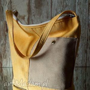 żółta torba - ekozamsz, torba, wakacyjna, groszki, torebka