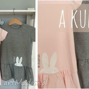 ręcznie robione ubranka letnia sukienka dla dziewczynki (szary melanż lub łososiowy róż