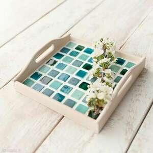 ceramika taca kwadratowa z mozaiką ceramiczną, taca, biała