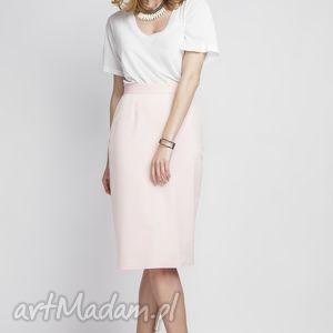 spódnica, sp111 róż, elegancka, kopertowa, ołówkowa, wysoka, rozcięcie, różowa