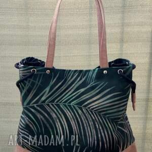 worek na ramię - palmy, torba, codzienna, wiosna lato, prezent, wzór egzotyczny