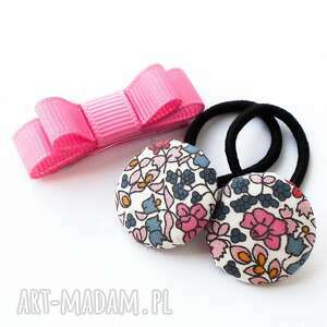 hand-made dla dziecka komplet do włosów gumeczki i spineczka