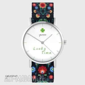zegarek - lucky time folk czarny, nato, zegarek, bransoletka, koniczynka