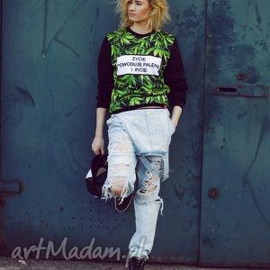 oryginalna bluza print 3d marihuana z napisem życie, bluza, znapisem, motyw
