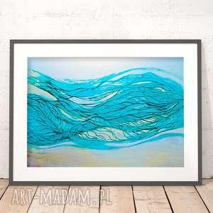 ładny plakat morski, abstrakcja plakat, morze grafika, morska grafika na ścianę