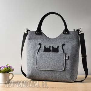 szara torebka z filcu dwoma kotami, torebka, filcowa, kot, kotek, elegancka