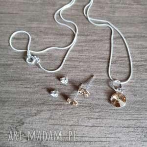 Komplet swarovski srebro kolczyki i łańcuszek z zawieszką