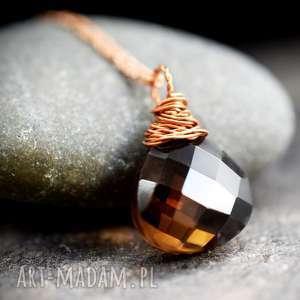 925 Różowo pozłacany łańcuszek z kwarcem dymnym, kwarc, naturalna, biżuteria, orient