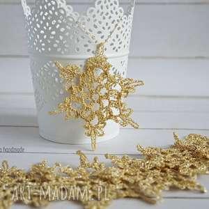 złote śnieżynki - 6szt - ozdoba świąteczna, boże narodzenie