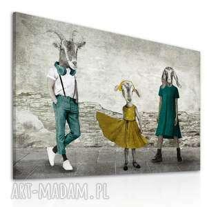 Nowoczesny obraz na płótnie z kozami - rodzina kozłowskich