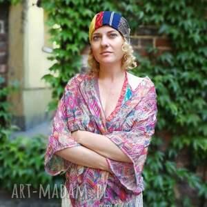 czapka kolorowa sport wzory patchwork - patchwork, czapka, etno, boho, bieganie, sport