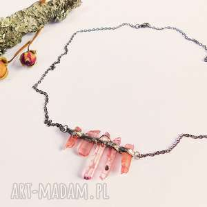 Różowe ząbki - kolia, kwarc, różowy, minimalistyczne
