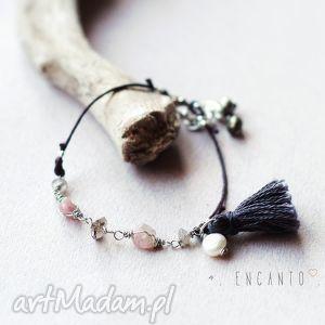 bohemian minimalist - chwost, perła, turmalin, kwarc, labradoryt, piryt