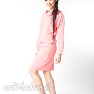 l/xl sukienka z kapturem koralowa, bawełna, dzianina, wiosna, eko, luźna, kaptur