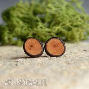 drewniane kolczyki na srebrnych sztyftach, gałązka, drewno, las, natura