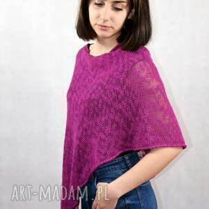 letnie bawełniane ponczo, unikatowe ubrania, damska bluzka, narzutka