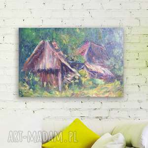 Obraz olejny na płótnie, chata ręcznie malowany, olej płótno,