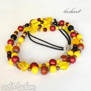 bordo z żółtym, naszyjnik, korale, marmur, koraliki, prezent