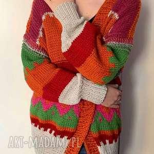 sweter w stylu boho, sweter, kardigan, na-drutach, kobiecy, ciepły-sweter