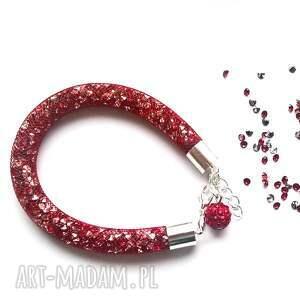 bransoletka stardust w czerwieni, stardust, shamballa, siatka, iskrząca