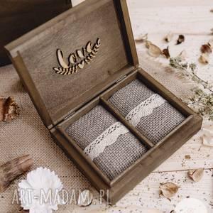 Rustykalne pudełko na obrączki 2 ślub picture media ślub