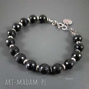 czarny turmalin - bransoletka, czarny, turmalin, srebro