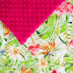 kocyk flamingi fuksja lilifranko - łóżeczko, dziecko, minky
