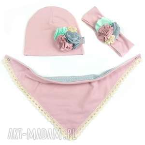 Cienki wiosenny komplet dla dziewczynki czapka, komin, opaska