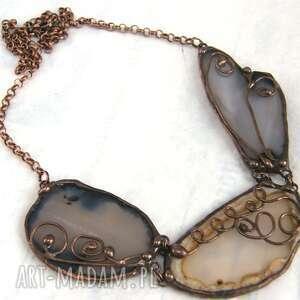 naszyjnik z 3 agatami: brązowy, naszyjnik z kamieni, agat, kamienie naturalne