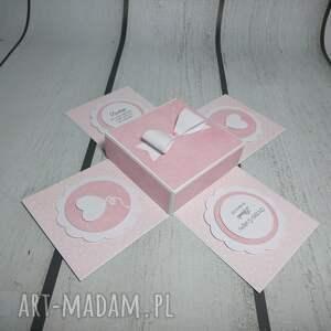 scrapbooking kartki exploding box / eksplodujące pudełeczko w błękicie jako