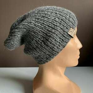 ręcznie zrobione czapki robiona czapka hand made ściągacz 100% alpaka średni