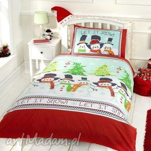 handmade pomysły na prezenty pod choinkę pościel świąteczna - ekipa bałwana