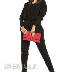 Stylowy kombinezon z rozcięciem na plecach, t301, czarny spodnie