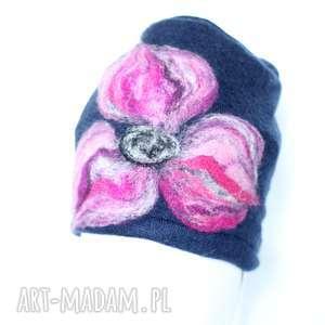 czapka wełniana damska granat - czapka, kwiaty, ciepła, wełna, etno, zima