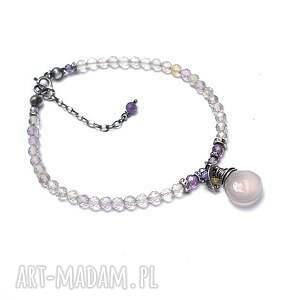 święta, lavender - bransoletka, srebro, oksydowane, ametryn, cyrkonie
