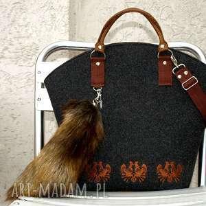 ręcznie wykonane torebki filcowa grafitowa brązowa torebka hobo folk