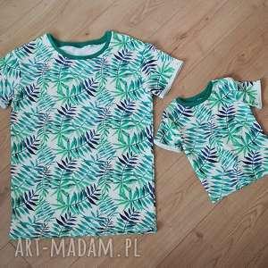 Komplet koszulek dla taty i syna M 92/98, liście, tropical, tataisyn, tataicórka