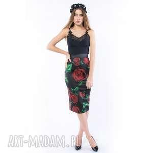 królowa róża / black - ołówkowa spódnica, ołówkowa, róże