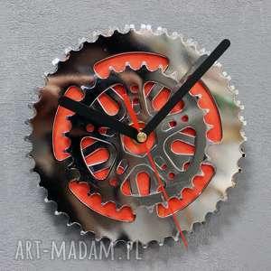 Prezent Zegar BMX, rowerowy, metalowy, stalowy, srebrny, mały, prezent