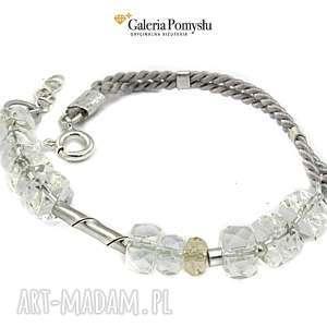 kryształ górski - bransoletka - bransoletka, kryształ, górski, srebro, 925