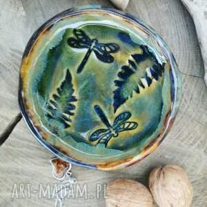 ceramiczny talerzyk, podstawka c351, ceramika, ważki, podstawka