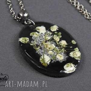 0096 mela wisiorek z żywicy will black kwiaty, wisiorek, naszyjnik, żywica, epoksyd