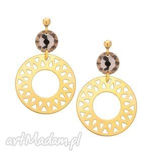 sotho kolczyki z dużymi arabskimi rozetami i cielistymi - kryształy
