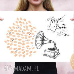 kreatywne wesele plakat księga gości - gramofon vintage 50x70 cm, wesele, ślub